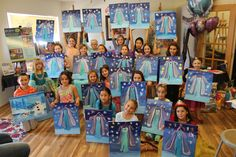 Frozen birthday party! Painting fun for kids!