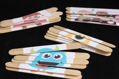 M-Craft stick puzzles. Easy to travel with. Could maybe even do felt or Velcro back so they could be done in the car or on a plane. Would just need to make a little tray or mat. Craft Stick Crafts, Crafts For Kids, Diy Crafts, Craft Sticks, Popsicle Sticks, Car Activities, Toddler Activities, Toddler Travel, Travel With Kids