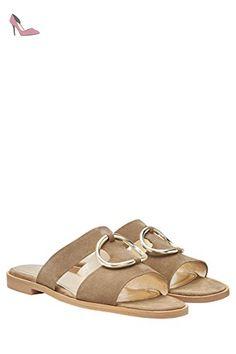 next Femme Mules En Cuir Avec Anneau Standard Natural EU39 - Chaussures next (*Partner-Link)