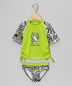 Take a look at this Lime 'Surfin' USA' Rashguard & Bottoms - Infant, Toddler & Girls by Pink Platinum & iXtreme on #zulily today!