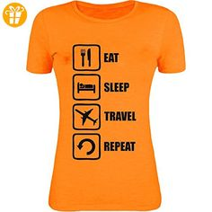 Eat Sleep Travel Repeat Funny Black Graphic Womens T-Shirt XX-Large (*Partner-Link)