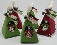 Stampin' Up! Stamping T! - Christmas Angel Ornaments in Petal Cone Boxes