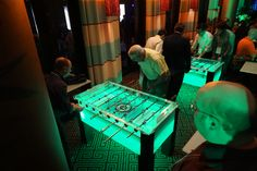 Foosball Table (Acrylic standard size with color changing LED Lights) available for corporate events.