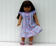 Doll Nightgown/Slippers, fits 18-inch Amer Girl Doll, Interlock Cotton Knit, Purple, Lavendar, READY to SHIP
