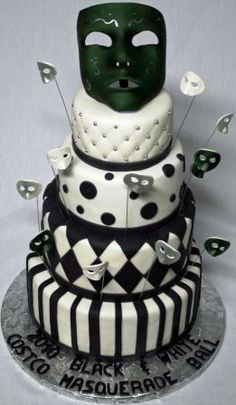 Black & White Wedding cake with polka dots, beads, checker board and stripes