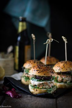 Mini hamburger au saumon