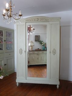 UK based online boutique specialising in authentic French armoires, antique mirrors and French decorative accessories. French Armoire, French Mirror, Wardrobe Furniture, Armoire Wardrobe, Mirror Door, Painted Doors, French Vintage, French Antiques, Vintage Furniture