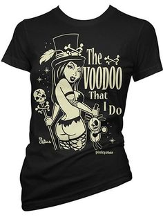 """Women's """"The Voodoo That I Do"""" Tee by Pinky Star (Black)"""