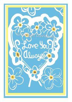 © Abigail Davidson --- Forget-Me-Nots (Love You Always); Original Printmaking Art