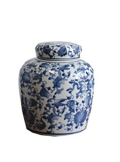 6.5 Inch RNUM-Inch Ceramic Ginger Jar with Lid, Blue/White