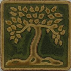 Mosaic image on back splash. Tree of life? Home Crafts, Arts And Crafts, Pottery Place, Craftsman Tile, Art Nouveau, Art Deco, Bungalow Ideas, Art Tiles, Craftsman Bungalows