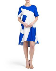 Zig+Zag+Print+Shift+Dress