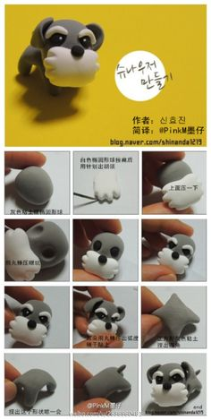 Polymer Clay Dog Tutorial - Schnauzer, my mom would love this!polymer clay animals (picture only)South Korea This clay course Cute Polymer Clay, Polymer Clay Animals, Polymer Clay Miniatures, Fimo Clay, Polymer Clay Projects, Polymer Clay Charms, Polymer Clay Creations, Polymer Clay Jewelry, Clay Crafts