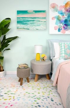 One could argue pastel colors are meant to be used in nurseries or kids rooms, but you are about to see how these wall paints, wallpapers, pillows, beds and even kitchen appliances can look great at your place. Take for instance kitchens, retro kitchens are in, and with those pastel tiles and mugs can pull the vintage look together. Pastel pink or blue for your bedroom, regardless of gender, do look great too, as pastel hues work wonders in making a room more relaxing and cozy. Pastel Room Decor, Pastel Bedroom, Pastel Walls, Colourful Bedroom, Blue Bedroom, Blue Walls, Spring Home Decor, Diy Home Decor, Interior Pastel