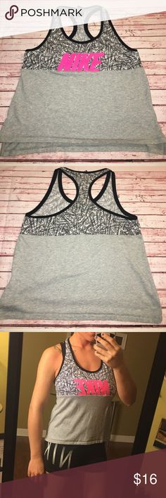 Nike Color Block Racerback Tank This is one of my favorite Nike tops by far! Unfortunately, it doesn't lay right on me. I'm very large in the chest so that could definitely be a factor. It's almost cropped on me, but still covers my stomach for the most part. I have a normal length torso, just to give you an idea of how it may fit in your body type. No flaws! The black is still super black, no chipping to the paint of the logo, no piling. Nice and soft and comfortable! Perfect for the gym or…