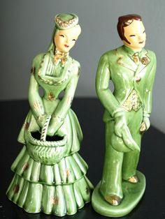 VINTAGE 1950's YONA OF CALIFORNIA FIGURINES-DAPPER MAN & ELEGANT LADY IN GREEN-D