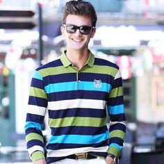 Turn Down Collar Striped Long Sleeve Men's Leisure Polo Shirts Autumn New Fashion Formal Business Polo Shirts,High Quality polo shirt men