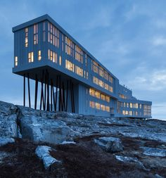 "Is the Most Remote and Magical Hotel on Earth ""Newfoundland's Fogo Island Inn offers a different kind of island getaway."" Pin curated by for Fogo Island Inn offers a different kind of island getaway."" Pin curated by for Newfoundland Canada, Newfoundland And Labrador, Fogo Island Newfoundland, The Places Youll Go, Places To See, Resorts, Fogo Island Inn, Gros Morne, Terra Nova"