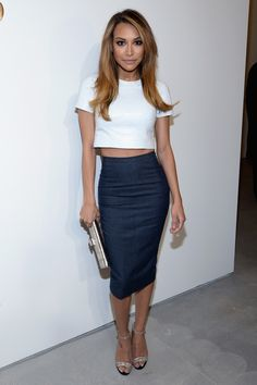 Naya Rivera.. Michael Kors Spring 2014 - White Python Crop Top and High Waist Pencil Skirt, Silver Envelope Clutch, and Python Ankle Strap Sandals..