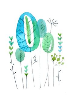 simple blue and green flowers. pretty for wall art. Pen And Watercolor, Watercolour Painting, Watercolor Flowers, Painting & Drawing, Watercolours, Art Floral, Motif Floral, Art Fantaisiste, Illustration Art