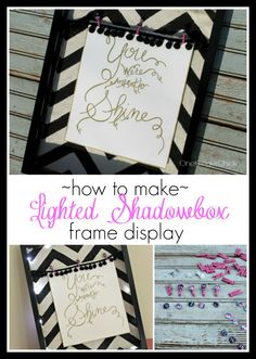 FREE TUTORIAL: How to make a lighted shadow box frame display for back-to-school.