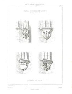 1864 Architectural Details, Chapelle Notre Dame de la Roche, France, Antique Print