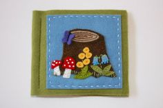 wool felt needle book with forest