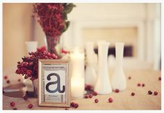 White centerpiece - letter a