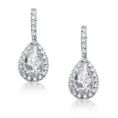 Bling Jewelry Pave CZ Teardrop Dangle Earrings: Jewelry: Amazon.com $40