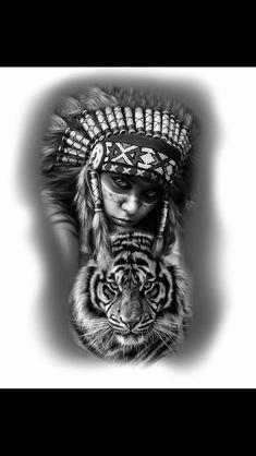 Criado por @zacatattoo Red Indian Tattoo, Native Indian Tattoos, Indian Girl Tattoos, Indian Tattoo Design, Tattoo Arm Designs, Clock Tattoo Design, Half Sleeve Tattoos Designs, Girl Face Tattoo, Girl Arm Tattoos