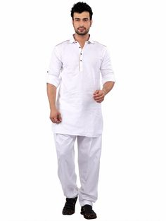 G3 Exclusive White Cotton Plain Festive Wear Pathani Suit