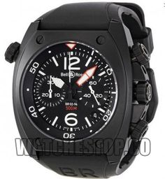 Bell And Ross Marine Black Dial Chronograph Men's Watch Sport Watches, Cool Watches, Watches For Men, Wrist Watches, Men's Watches, Black Face Watch, Casio Protrek, Bell Ross, Discount Watches