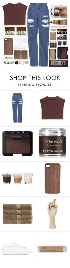 """""""Neutrals"""" by fashionlover2157 on Polyvore featuring Topshop, adidas Originals, Polaroid, Hershey's, NARS Cosmetics, Sara Happ, Wood'd, Christy, HAY and Aesop"""