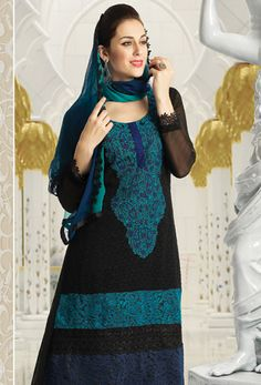Black and Blue Pakistani Salwar Kameez   Buy #pakistani #latest #salwar #kameez Get Free Shipping!