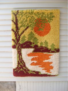 By far, one of the coolest latch hook rugs I have ever seen! The colors are amazing. This rug has a mod mid century look to it. Estimate Has hook for hanging. Perfect for the lake house. 34 X 24 Thanks for coming by Weaving Art, Loom Weaving, Tapestry Loom, Diy And Crafts, Arts And Crafts, Latch Hook Rugs, Donia, Penny Rugs, Wool Applique