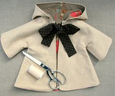 Sewing Pattern and Tutorial for Hooded Coat for a doll by NobbyOrganics