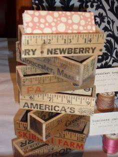 business card holders from vintage yardsticks.  Genius!
