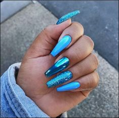Nail - 25 most stunning and beautiful blue blue nails for fashion 2019 - Pa . - - 25 most amazing blue and beautiful blue nails for fashion 2019 - Page 14 of 25 - nails nail ideas trendy nails b. Blue Glitter Nails, Blue Chrome Nails, Blue Coffin Nails, Blue Gel Nails, Blue Stiletto Nails, Glitter Hair, Nails Acrylic Coffin Glitter, Turquoise Acrylic Nails, Bright Blue Nails