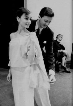 Hubert de Givenchy -- French designer who established la Maison Givenchy couture house in 1952. He admired Balenciaga's simplicity, and his most iconic muse was Audrey Hepburn. One of his most influential designs was the 'sack' silhouette which was revolutionary for the late 1950s. His work was noted for being clothing of exceptional workmanship, masterly cut, and beautiful fabrics.
