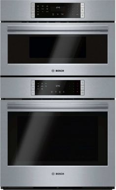 Bosch Self-Cleaning True Convection Microwave Wall Oven Combo (Stainless Steel Actual: at Lowe's. Bosch microwave combination wall ovens create an all-in-one cooking center with a microwave oven on top of a Genuine European Convection oven below. Built In Microwave, Microwave Oven, Microwave Drawer, Wall Oven Microwave Combo, Four A Convection, Convection Cooking, Microwave Combination Oven, Ovens, Kitchens