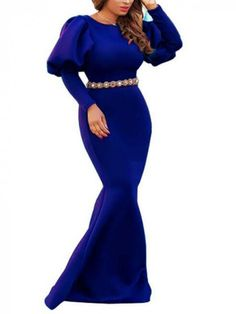 Royal Blue Draped Lantern Sleeve Mermaid Scuba Banquet Prom Party Maxi Dress #Chic443129_Sum | Sumchic Blue Mermaid Dress, Mermaid Dresses, Velvet Bodycon Dress, Latest African Fashion Dresses, Latest Fashion, Fashion Trends, Manga, African Dress, Evening Dresses