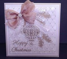 Card made usin g Sue Wilson Christmas dies Die Cut Christmas Cards, Beautiful Christmas Cards, Christmas Greeting Cards, Christmas Greetings, Greeting Cards Handmade, Holiday Cards, Winter Karten, Winter Cards, Happy Birthday Cards