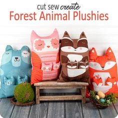Forest Animal Plushies panel by Stacy lest Hsu for Moda Fabrics – Red Thread Studio Vintage Housewife, Windham Fabrics, Primitive Gatherings, Panel Quilts, Fat Quarter Shop, Sewing Class, Quilt Kits, Forest Animals, Creative Kids