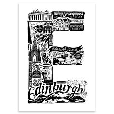 A beautiful and detailed screen print filled with illustrations of important places and landmarks in Edinburgh,  Scotland. By Lucy Loves This. On Achica.