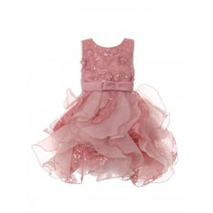 799e8415be7 Baby Girls Rose Sequin Pearl Lace Tulle Ruffle Flower Girl Dress 6-24M New  Arrival