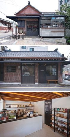 Just as we occupy up our cars at gas stations, coffee shops are where we refuel our minds and . Restaurant Exterior Design, Cafe Exterior, Interior And Exterior, Interior Design, Coffee Shop Design, Cafe Design, Korean Coffee Shop, Korean Cafe, Korean Shop