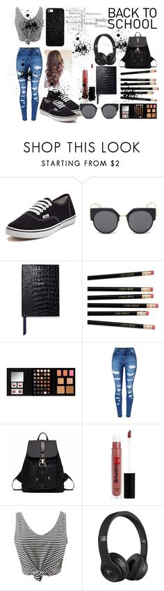"""""""back to school"""" by aamilah-hess ❤ liked on Polyvore featuring Vans, LMNT, Smythson, NYX, WithChic, Morphe and Beats by Dr. Dre"""