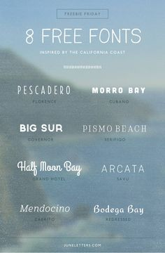 FREEBIES - on Fridays, of course. Fonts, vectors, etc! Freebie Friday: 8 Free Fonts Inspired by the California Coast — June Letters Studio Typography Letters, Graphic Design Typography, Lettering Design, Hand Lettering, Japanese Typography, Typography Poster, Calligraphy Letters, Logo Inspiration, Inspiration Typographie
