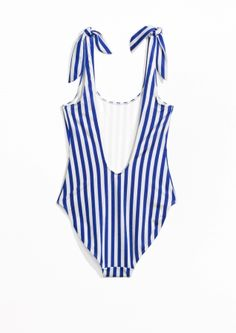 & Other Stories image 2 of Classic Cut Swimsuit in Blue Stripes