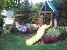 old swing set. Now it's a hammock stand Backyard Playset, Backyard Trampoline, Backyard Playground, Backyard For Kids, Backyard Projects, Outdoor Projects, Outdoor Playset, Children Playground, Playground Ideas